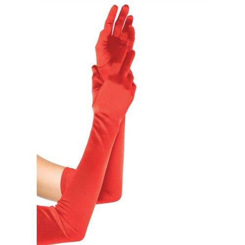 Handschuhe rot, Satin, extra lang